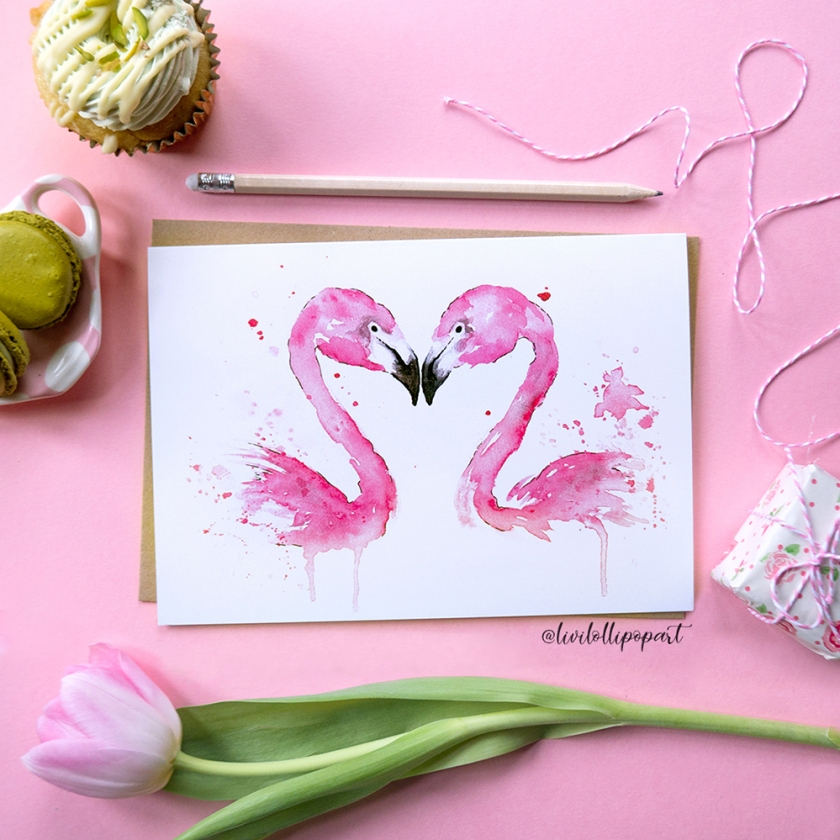 fb flamingo card