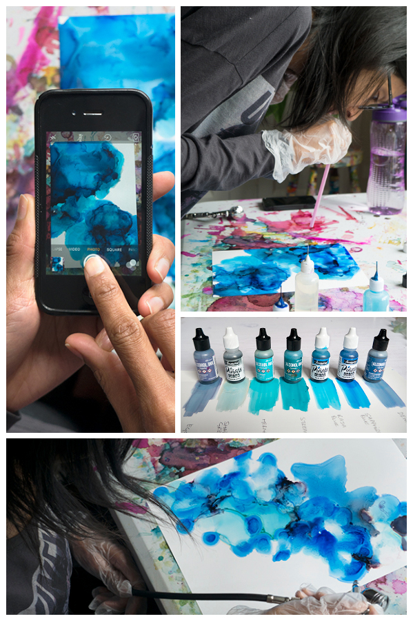 pinterest alcohol ink workshop blue